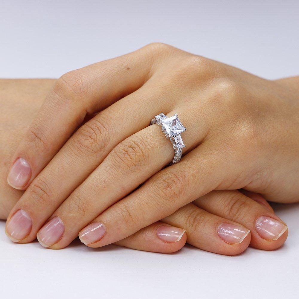Inel logodna argint 925, White Princess Cut
