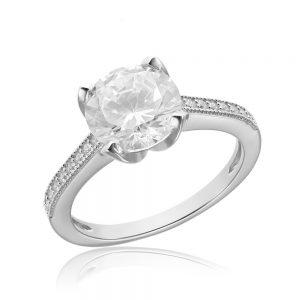 Inel de logodna argint Solitar cu cristale laterale mici TRSR088, Corelle