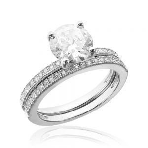Grup de doua inele logodna argint White cu cristale TRSR089, Corelle