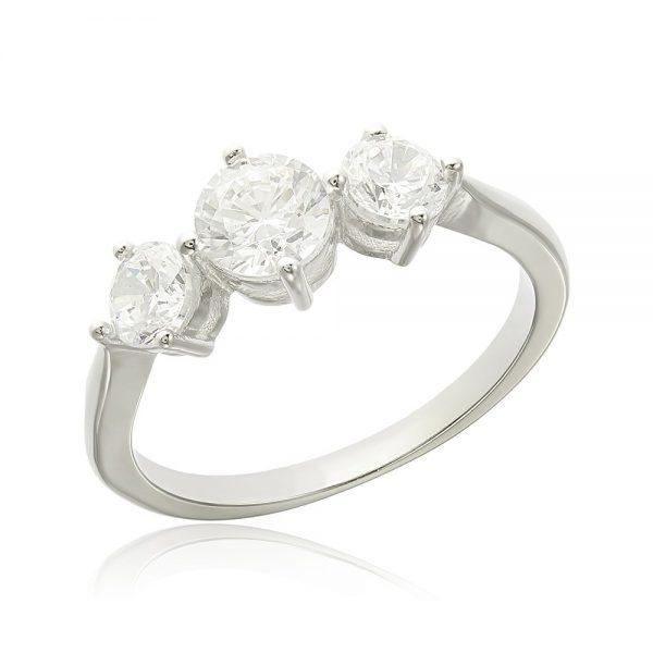 Inel argint cu 3 cristale briliant din zirconiu TRSR097, Bijuterii - Corelle