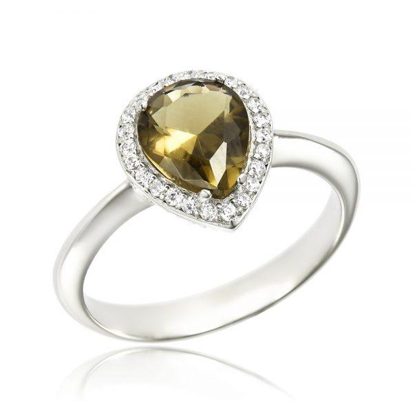 Inel argint Solitar Negru Anturaj cu cristale TRSR100, Corelle