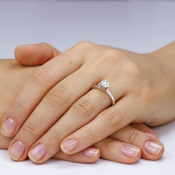 Inel de logodna argint Cluster cu cristale TRSR106, Bijuterii - Corelle