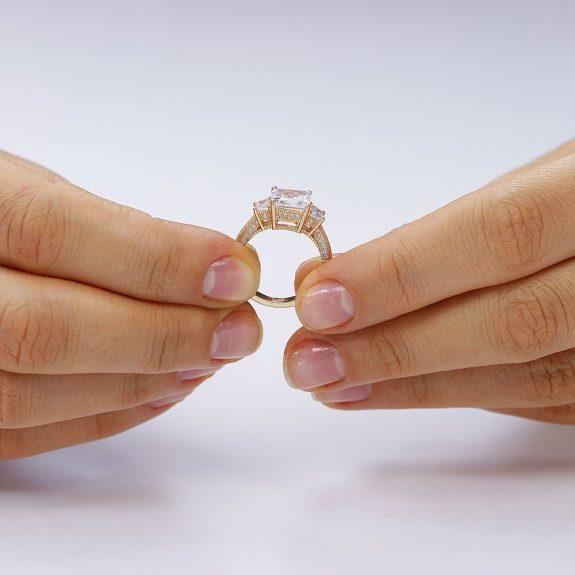 Inel de logodna argint Rose Princess cu 3 cristale mari TRSR124, Corelle