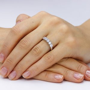 Inel argint cu 5 cristale briliant din zirconiu TRSR128, Bijuterii - Corelle