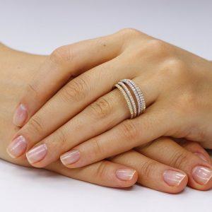 Inel argint Semi Eternity Fancy cu cristale TRSR156, Bijuterii - Corelle