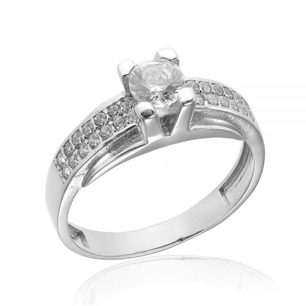 Inel de logodna argint Solitar cu cristale laterale TRSR170, Corelle