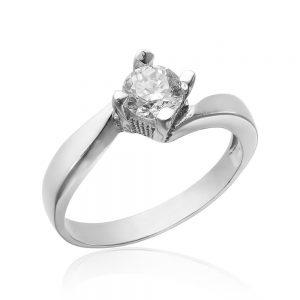 Inel argint Solitar NoTouch cu cristal briliant din zirconiu TRSR172, Corelle