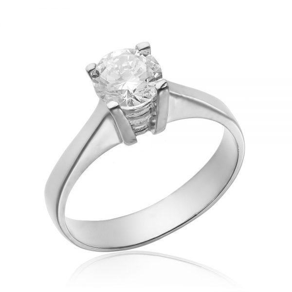 Inel argint Solitar cu cristal briliant din zirconiu TRSR174, Corelle