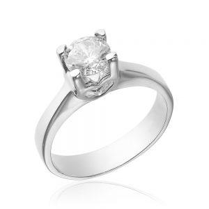 Inel argint Solitar cu cristal briliant din zirconiu TRSR175, Corelle