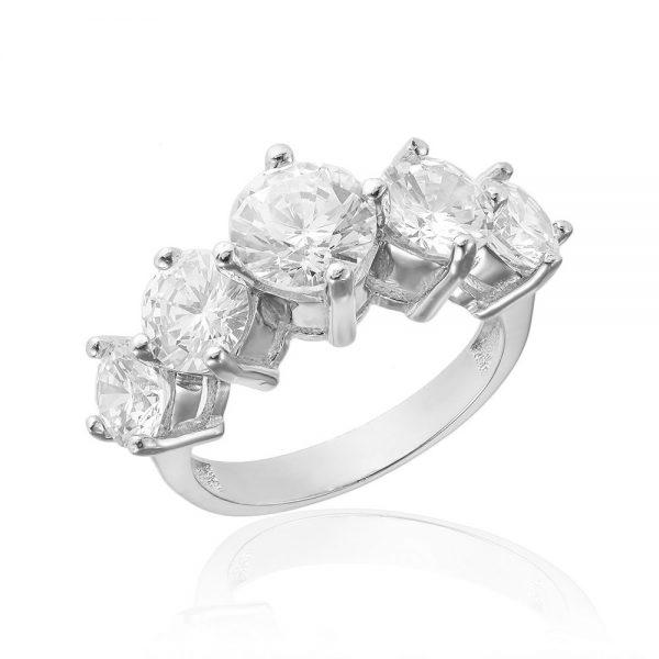 Inel argint cu 5 cristale briliant din zirconiu TRSR176, Bijuterii - Corelle