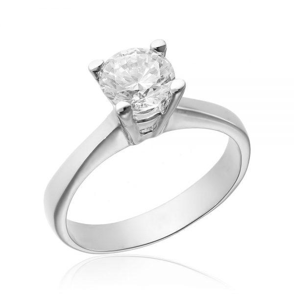 Inel argint Solitar cu cristal briliant din zirconiu TRSR177, Corelle