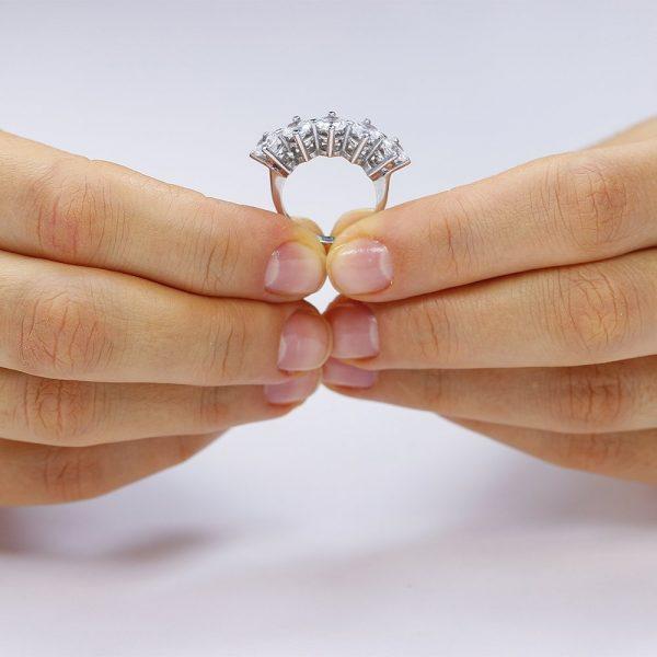 Inel argint cu 5 cristale model Fancy TRSR188, Bijuterii - Corelle