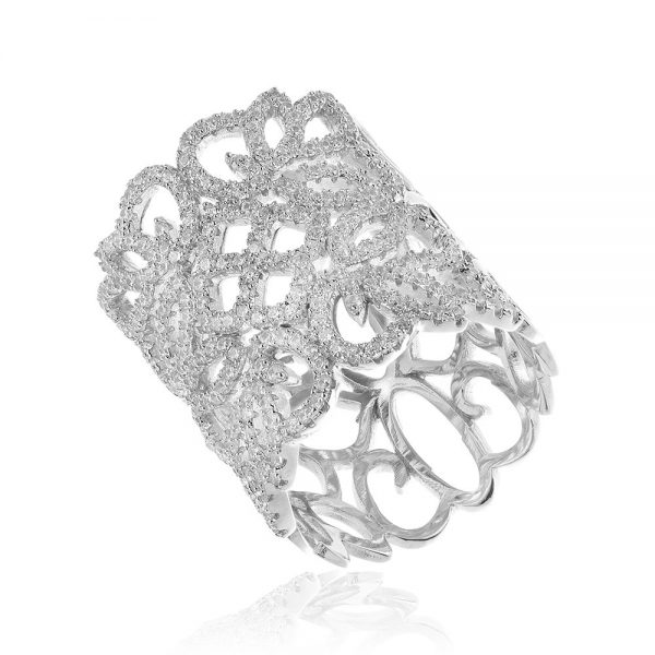 Inel argint Fancy cu cristale mici din zirconii TRSR189, Bijuterii - Corelle