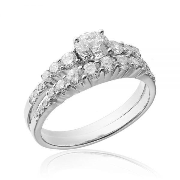 Grup de doua inele logodna argint White cu cristale TRSR191, Corelle
