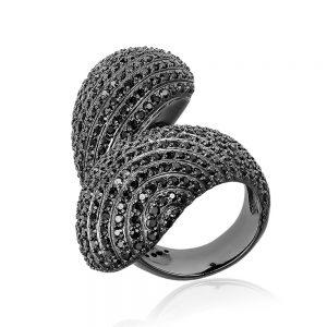 Inel argint Fancy NoTouch cu cristale din zirconii negre TRSR192, Corelle
