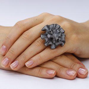 Inel argint Fancy cu cristale mici din zirconii TRSR193, Bijuterii - Corelle