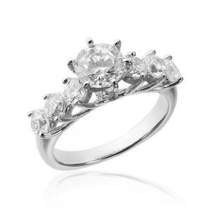 Inel de logodna argint cu 7 cristale TRSR211, Bijuterii - Corelle