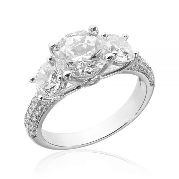 Inel de logodna argint cu 3 mari cristale centrale TRSR213, Corelle