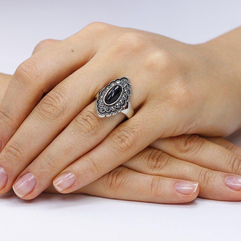Inel argint Onyx Solitar Fancy cu marcasite TRSR253, Corelle