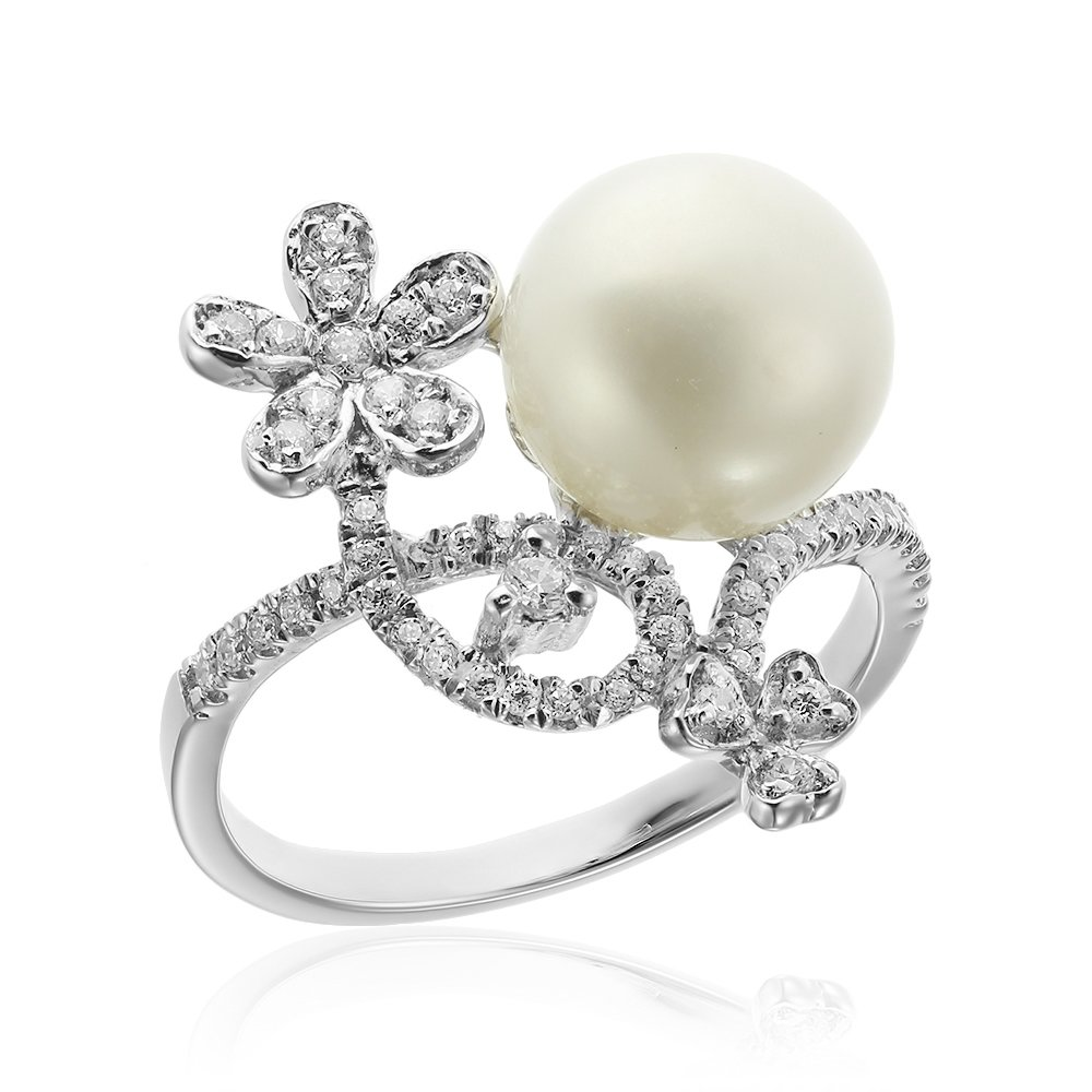 Inele de logodna. Inel argint Fancy Perla Solitar cu si cristale mici TRSR255, Corelle