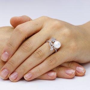 Inel argint Fancy Perla Solitar cu si cristale mici TRSR255, Corelle