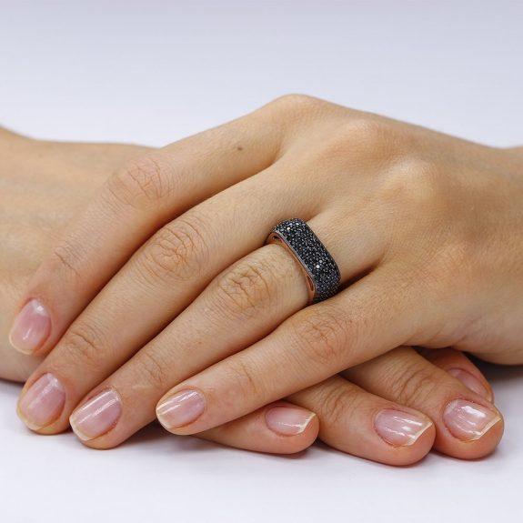 Inel argint Rose Eternity Fancy Square cu cristale negre TRSR259, Corelle