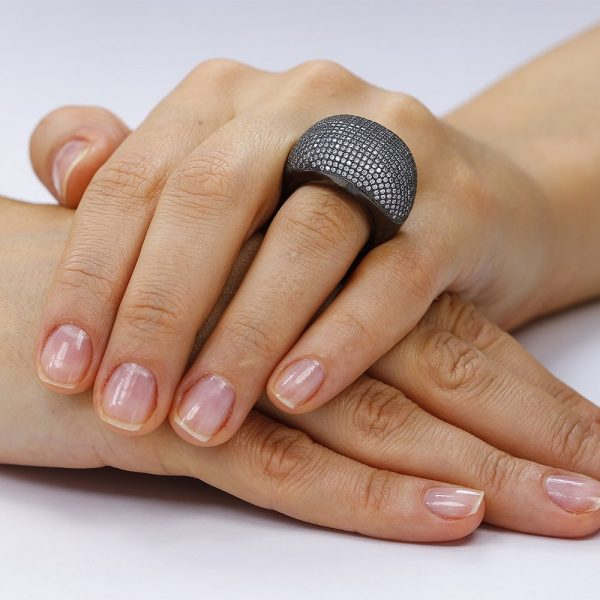 Inel argint Fancy Impresive Black cu cristale din zirconii TRSR261, Corelle
