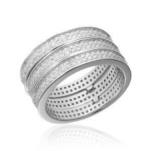 Grup de 3 inele argint Eternity cu cristale TRSR262, Bijuterii - Corelle