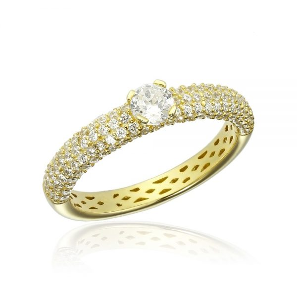 Inel argint Yellow Solitar cu cristale laterale TRSR265, Corelle