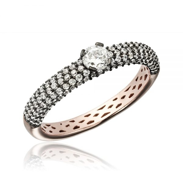 Inel argint Solitar cu cristale laterale TRSR267, Corelle