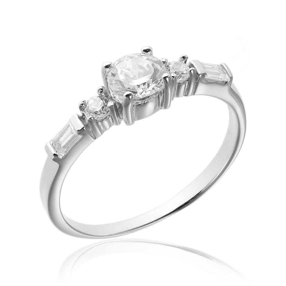 Inele de logodna. Inel argint Solitar cu cristale laterale TRSR277, Corelle
