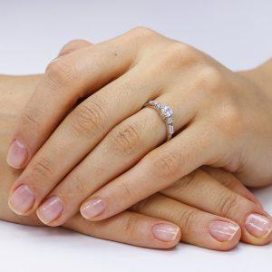 Inel argint Solitar cu cristale laterale TRSR277, Corelle