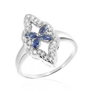 Inel argint Fancy Flower cu cristale din zirconii TRSR279, Corelle