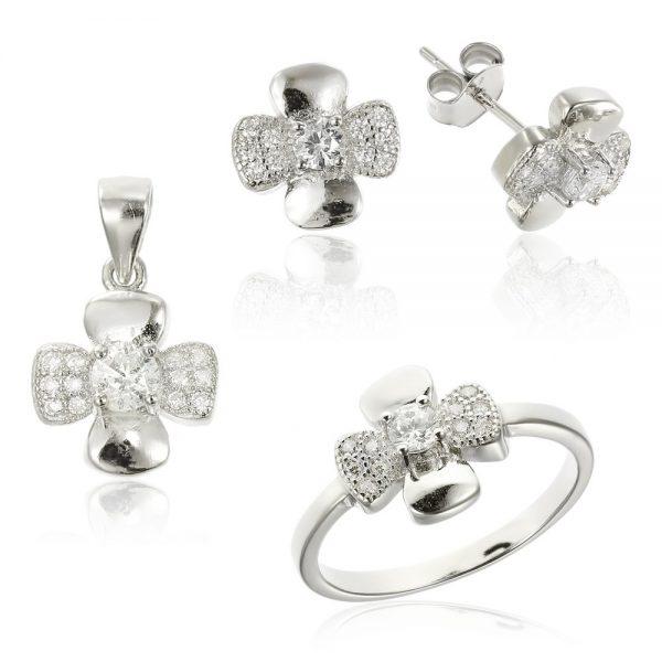 Set argint Fancy cu cristale din zirconiu TRSS040, Bijuterii - Corelle