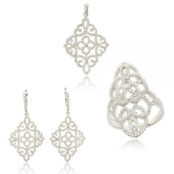 Set argint Fancy cu cristale mici din zirconii TRSS041, Bijuterii - Corelle