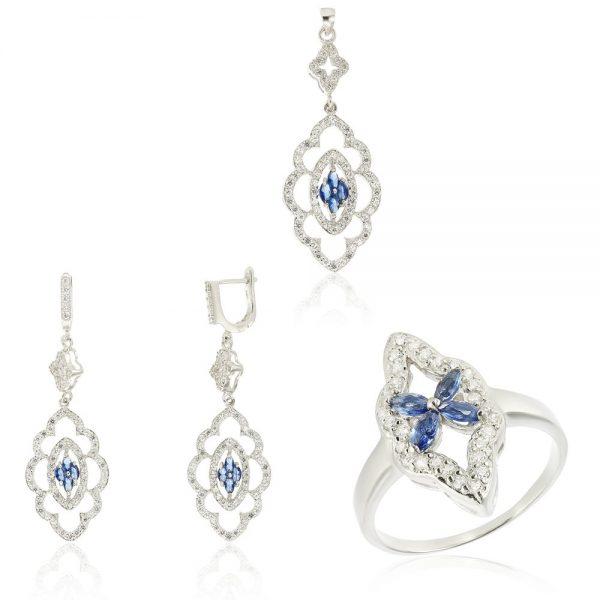 Set argint Fancy Flower cu cristale din zirconii TRSS043, Corelle