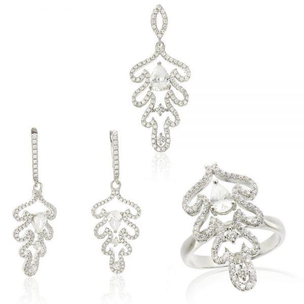Set argint Fancy Lacrima cu cristale mici din zirconii TRSS044, Corelle
