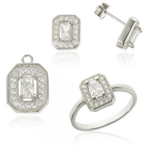 Set argint cu cristale TRSS047, Corelle